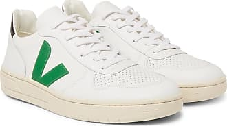 Veja V-10 Rubber-trimmed Leather Sneakers - White