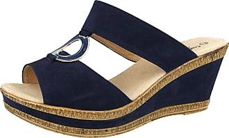 Cushion-Walk Ladies Leather Lined Peep Toe Mid Wedge Heel Slip On Mules Sandals Size 3-8 (UK 7/ EU 40, Navy Blue)