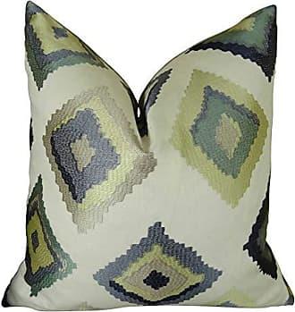 Plutus Brands Plutus Native Trail Dew Handmade Throw Pillow 18 x 18 White/Navy/Lime