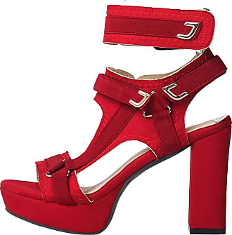 Vimisaoi Sandals for Women, Fashion Ankle Strap Hook and Loop Platform Chunky High Heel Sandals Red Size: (8.5 M) US