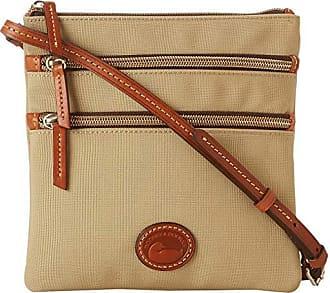 Dooney & Bourke Nylon North/South Triple Zip (Khaki w/ Tan Trim) Cross Body Handbags
