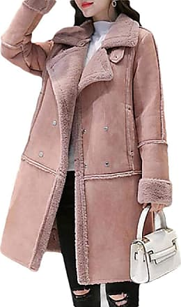 VITryst Womens Long Sleeve Lined Fleece Double-Breasted Suede Shearling Coat Leather Jacket,Pink,X-Small