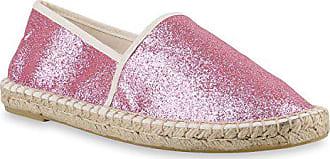 Stiefelparadies Damen Slipper Flats Bast Espadrilles SpitzeFlache Freizeit  Glitzer Pailletten Schnürer Espadrille Schuhe 143479 Pink Shiny 6967015679