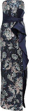Marchesa Marchesa Notte Woman Strapless Bow-embellished Sequined Crepe Gown Navy Size 10
