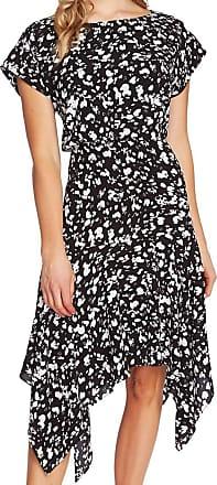 Vince Camuto Womens Gray Printed Short Sleeve Jewel Neck Midi Sheath Cocktail Dress Size: 8