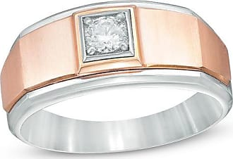 Zales Mens 1/4 CT Diamond Solitaire Square Edged Wedding Ring in 10K Two-Tone Gold