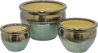 Three Hands Ceramic Fishbowl Planters - Set of 3 Blue / Silver