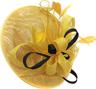 Caprilite Yellow and Black Sinamay Big Disc Saucer Fascinator Hat for Women Weddings Headband