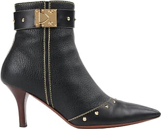 ed38d91ef94 Louis Vuitton C.2003 suhali Black Leather Gold Studded Pointed Toe Ankle  Boots