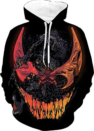 EUDOLAH Mens Long Sleeve Sweatshirts Neon Printed Hoodies 3D Graphic Jumpers Animal Sportswear(Tag 2XL/3XL, red Venom)