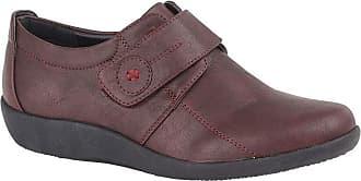 Boulevard Womens/Ladies X Wide EE Fit Touch Fastening Bar Shoe (5 UK) (Burgundy)