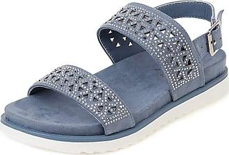 Mediffen Women Casual Studded Bohemia Sandals Open Toe Ankle Strap Platform Sandals Comfort Hollow Out Sandals Blue Size 40 Asian