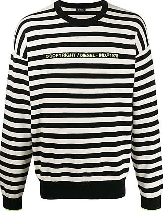 Diesel Suéter com logo e listras - Preto