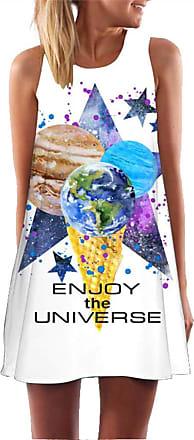 Ocean Plus Womens Sleeveless Vintage Boho Beach Dress Sundress Tank Tops Beach Dress Round Neck Short A Line Shirt Dress Blouse Dress (XXL (UK 14-16), Planets of