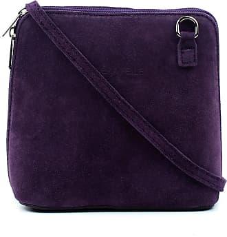 Craze London NEW Womens Small Genuine Suede Cross Body Shoulder Bag Strap Real Italian Designer (Dark Purple)