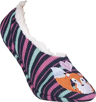 SockShop Ladies 1 Pair Wild Feet Fox Fleece Lined Knitted Slippers Assorted 4-8 Ladies