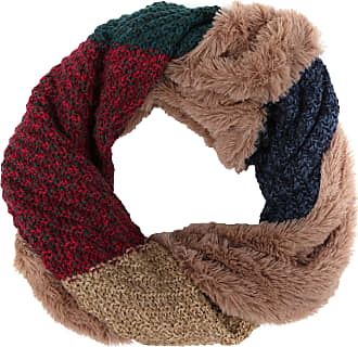Sakkas 16109 - Julie Short Wrap Around Two Sided Faux Fur And Ribbed Knit Infinity Scarf - Green/Red - OS