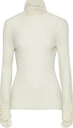 Elie Tahari Elie Tahari Woman Pointelle-knit Merino Wool Turtleneck Sweater Ivory Size XS