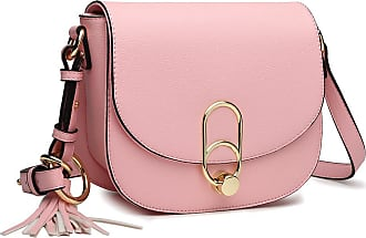 Miss Lulu Women Cross body Bag Fashion Tassel Decoration Zipper Handbags Flap with Lock Closure Shoulder Bag (Pink)
