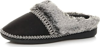 Ajvani Womens Ladies Grip Sole Comfort Winter Fur Lined Mules Slippers Scuffs Size 3 36