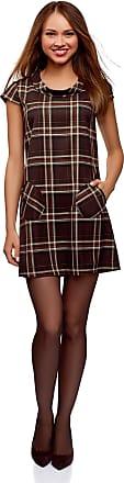 oodji Womens Checkered Shawl Collar Dress with Pockets, Brown, UK 4 / EU 34 / XXS