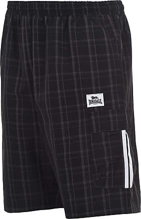 Lonsdale Mens 2 Stripe Checked Shorts Woven Pants Trousers Bottoms Zip Mesh Black XXXXL