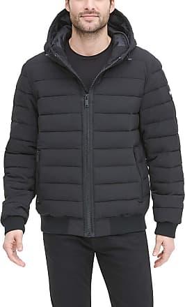DKNY Mens Quilted Performance Hooded Bomber Jacket Down Alternative Coat, Black Matte Stretch, Medium
