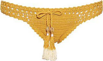 She Made Me Hira Hipster Crochet Bikini Briefs - Womens - Dark Yellow