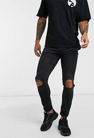 Topman Enge Stretch-Jeans mit starken Zierrissen in verwaschenem Schwarz