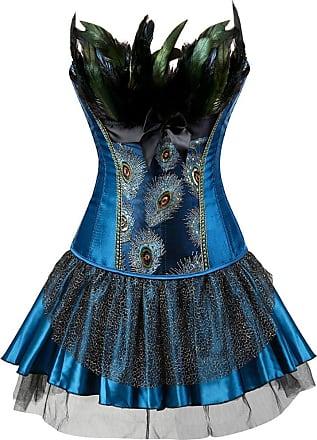 EUDOLAH Womens Corset Peacock Feather Dress Set Noble Vintage Bustier Costume(UK 8-10 (M), Blue Dress)