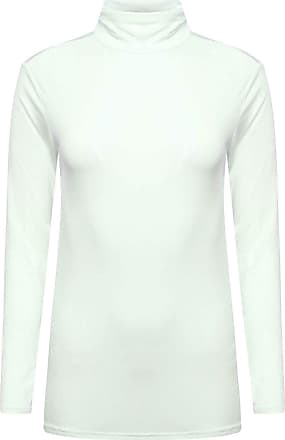 Crazy Girls New Womens Plain Turtle Polo Roll Neck Ladies Long Sleeve Stretch T-Shirt Tee Top (Cream, 16-18)