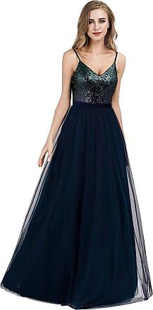 Ever-pretty Womens Adjustable Spaghetti Straps V Neck Sequin Floor Length A Line Tulle Evening Dresses Navy Blue 14UK