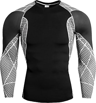 YiJee Mens Running Tops Quick Dry Fitness Compression Base Layer Long Sleeves T-Shirts Black 4XL