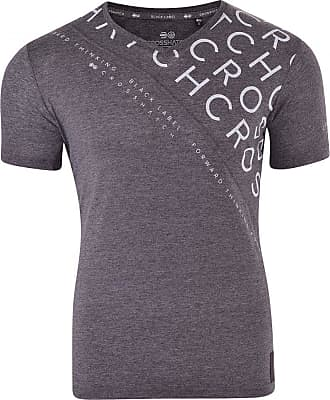 Crosshatch Mens Designer V Neck Logo Printed Short Sleeved T Shirt Small Charcoal- Crosshatch