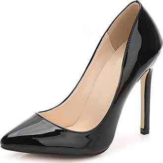OCHENTA Womens Patent Leather Slip on Stiletto Dress Pump Black Tag 42-UK 6.5