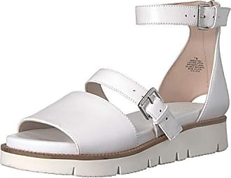 Nine West Womens SATORIA Leather Flat Sandal, White, 7 M US