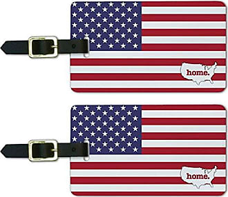Graphics & More Graphics & More United States of America USA Home Country Luggage Suitcase Id Tags-Flag, White