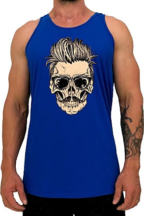MXD Conceito Regata LongLine Masculina Cavada MXD Conceito Skull Bigode e Topete Long Line (Azul, EG)