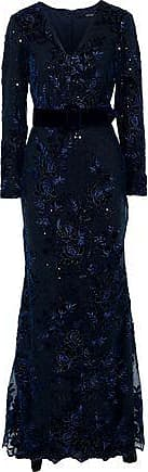Badgley Mischka Badgley Mischka Woman Layered Sequin-embellished Embroidered Tulle Gown Navy Size 6