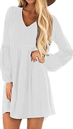 YOINS Kleider Damen Sommerkleid f/ür Damen Brautkleid Tshirt Kleid Rundhals Langarm Minikleid Winterkleid Langes Shirt Lose Tunika
