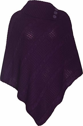 Purple Hanger Womens Cape Shawl Wrap Long Knitted Sweater Folded Roll Neck Button Jumper Ladies Poncho Top One Size Purple One Size 8 - 16