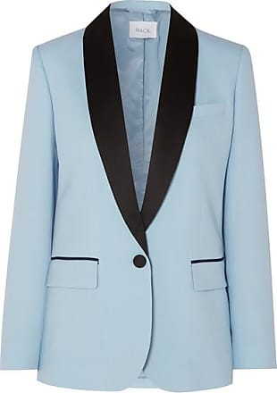 Racil James Satin-trimmed Wool Blazer - Sky blue