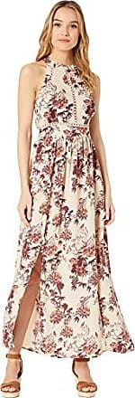 Angie Womens Halter Maxi Dress with Lace Insets, Latte, Large