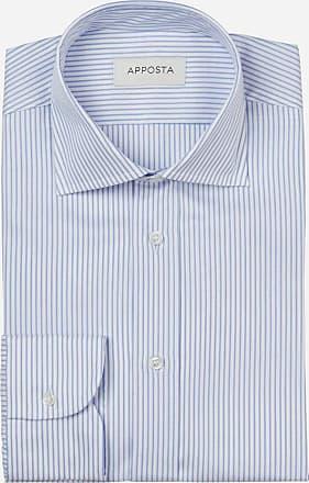 Apposta Camicia tinta unita azzurro 100% cotone anti-macchia twill doppio ritorto oekotex, collo stile semifrancese