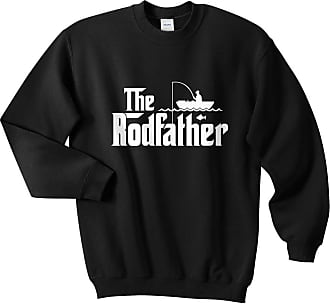Sanfran Clothing The Rodfather Top Fishing Rod Fish Fathers Day Dad Mens Gift Jumper Sweater - Large/Black