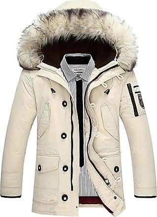 TOMWELL Mens Heavy Weight Fur Hood Parka Padded Waterproof Winter Coat Jacket Black Blue Creamy EU M