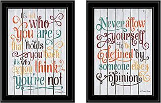 Trendy Decor 4 U Trendy Decor4UWho You Think 2-Piece Vignette by Susan Ball, Black Framed Prints Earthtone