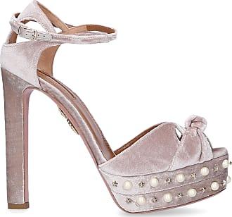 Aquazzura Sandals HARLOW PEARLS velvet Beads Gem ivory