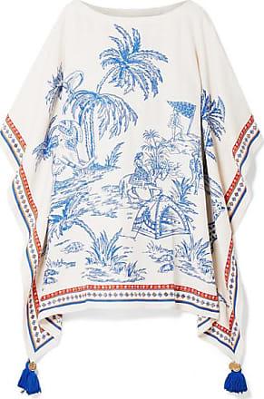 Tory Burch Tasseled Embellished Printed Silk And Linen-blend Kaftan - Blue