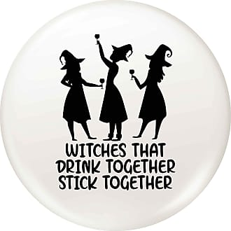 Flox Creative 45mm Pin Badge Witches Drink Stick Together